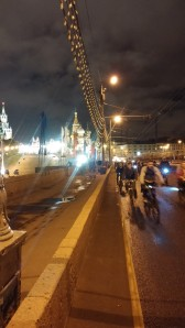 Cyclists crossing the bridge from the Kremlin (apologies for the poor night snaps)