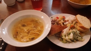 Starters of soup and salad