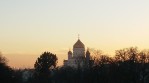 The stunning sunset I was lucky enough to capture last week, with the Church of St. Christ the Savior