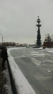 Sophie with the frozen river and a chilly Peter the Great