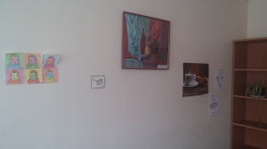The exhibition of new, up and coming student artists here emphasizes the previous plain-ness of the walls...