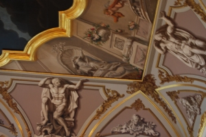 Intricate paint work on the ceilings