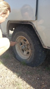Checking out a flat tire